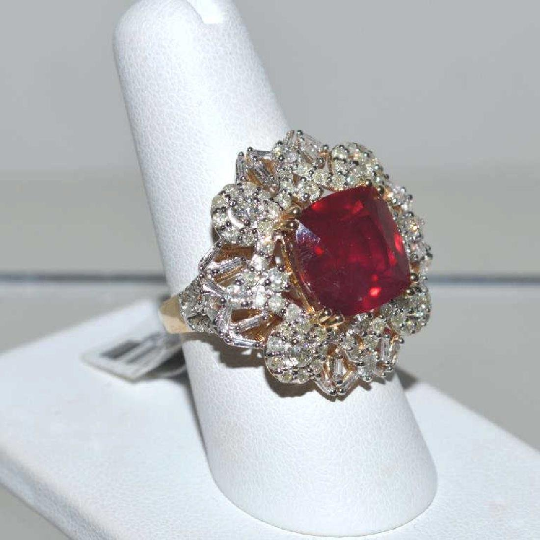 14kt yellow gold ruby and diamond ring - 2