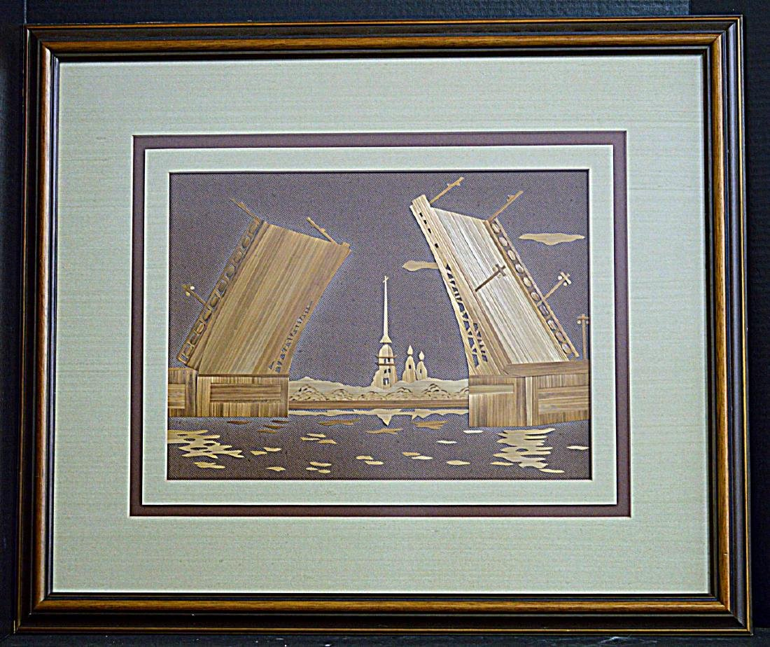 Framed & Matted Russian Scene with Wooden Bridge