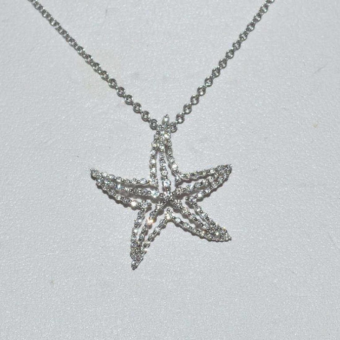 18kt white gold diamond starfish pendant