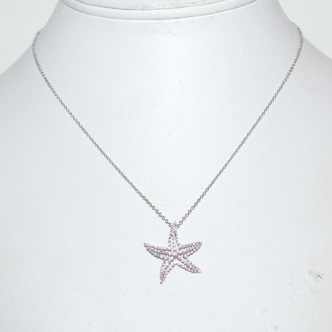 18kt white gold diamond starfish pendant - 2