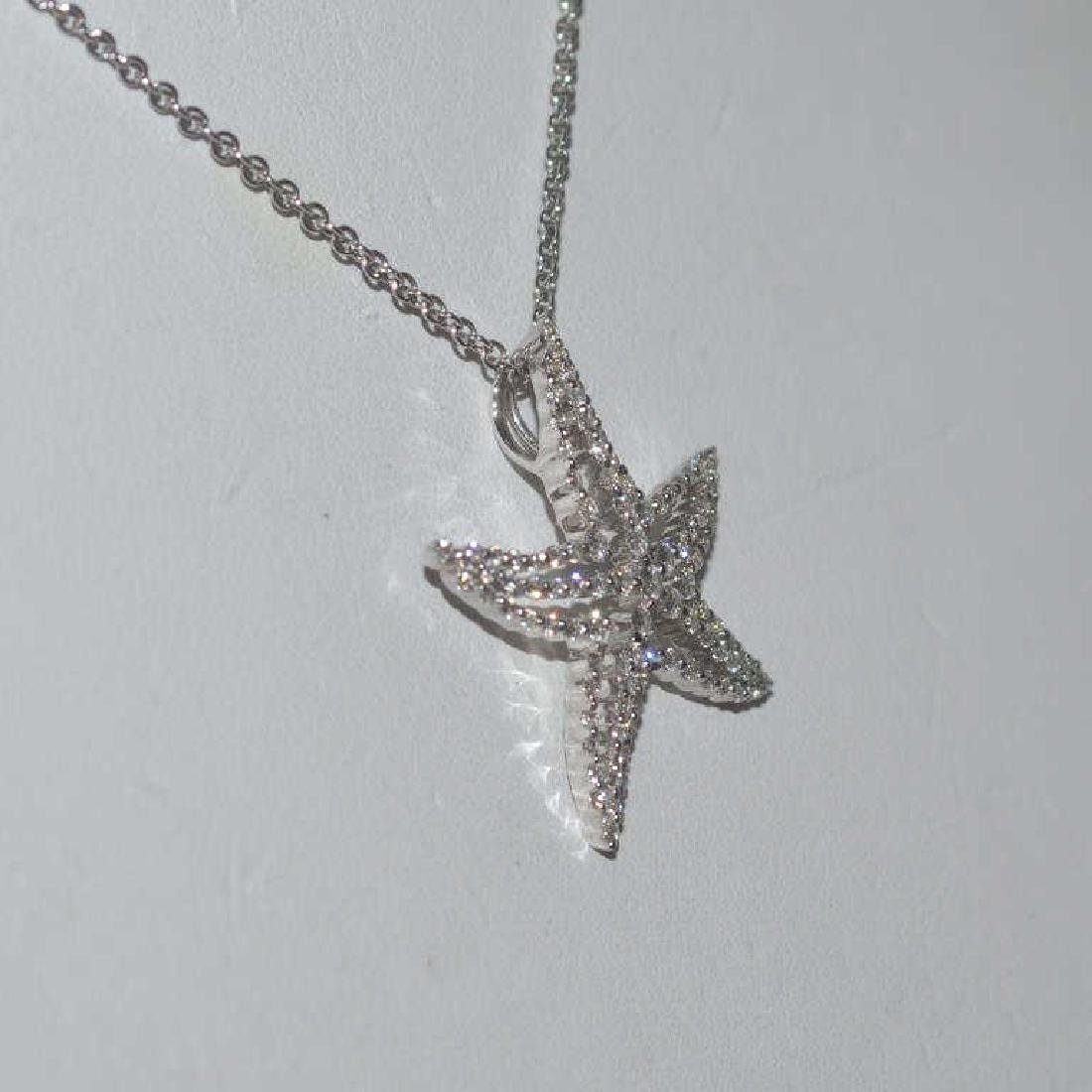 18kt white gold diamond starfish pendant - 3
