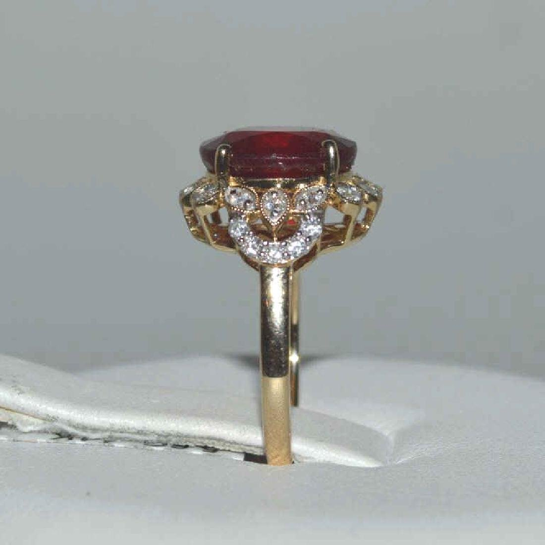 14kt yellow gold ruby and diamond ring - 4