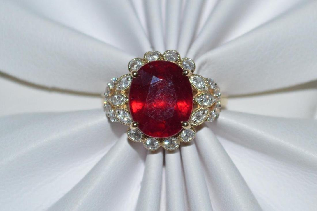 14kt yellow gold ruby and diamond ring - 5