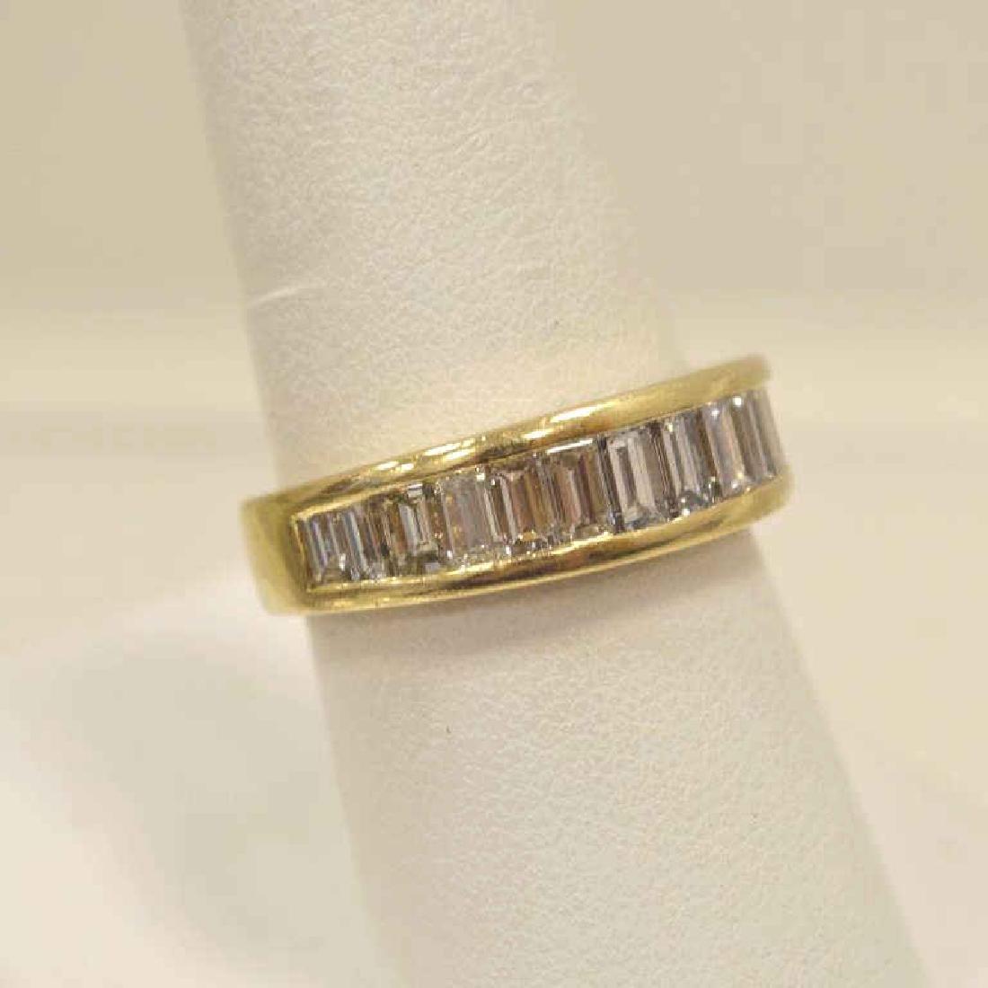 14kt yellow gold diamond wedding band - 2