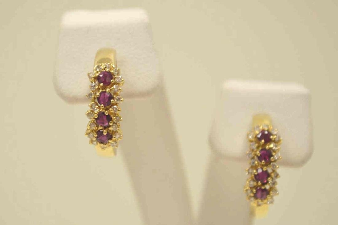 14kt ruby and diamond hoop earrings