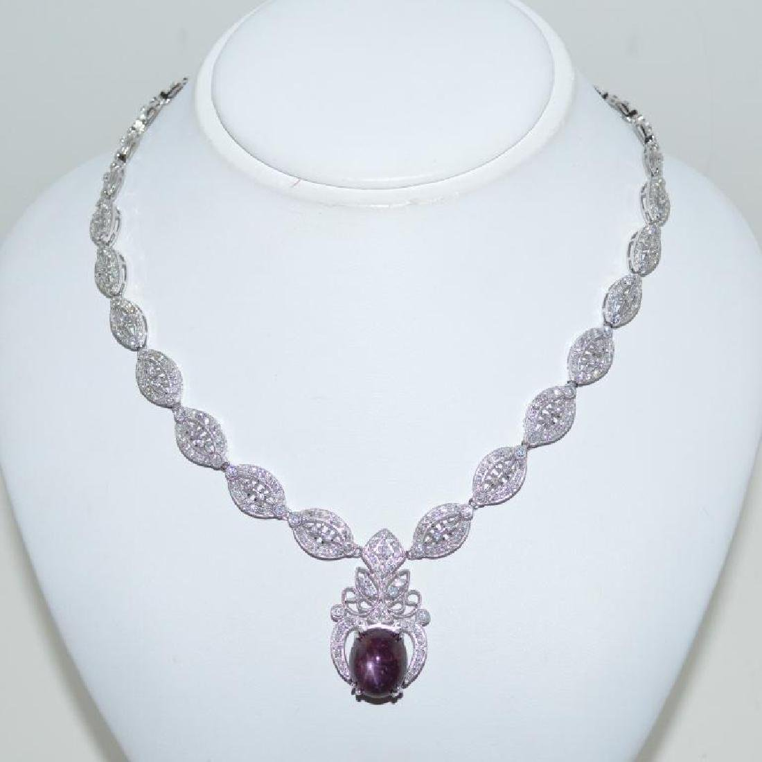Star Ruby and Diamond Necklace GIA Cert