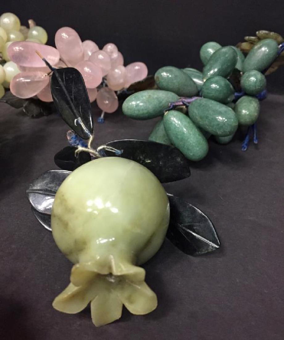 Group of carved stone decorative fruit - 5