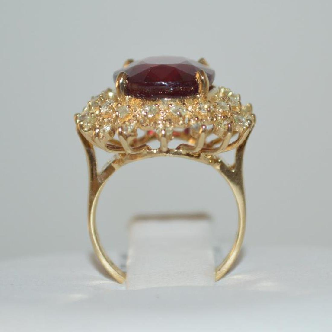 14kt yellow gold ruby and diamond ring - 3