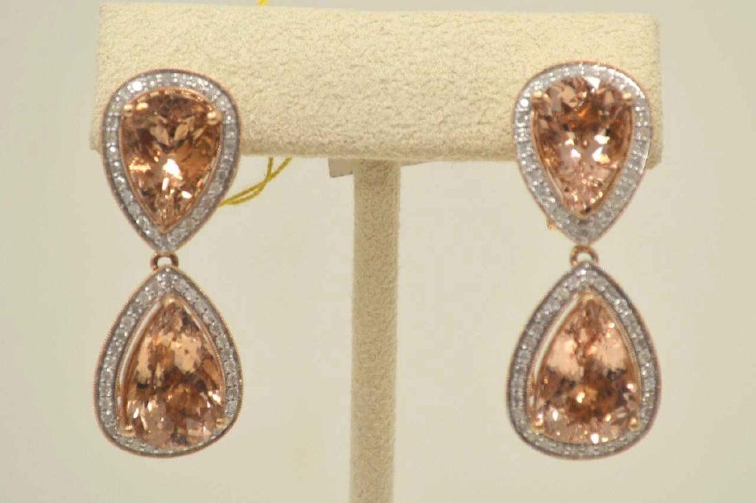 14kt rose gold Morganite and Diamond earrings