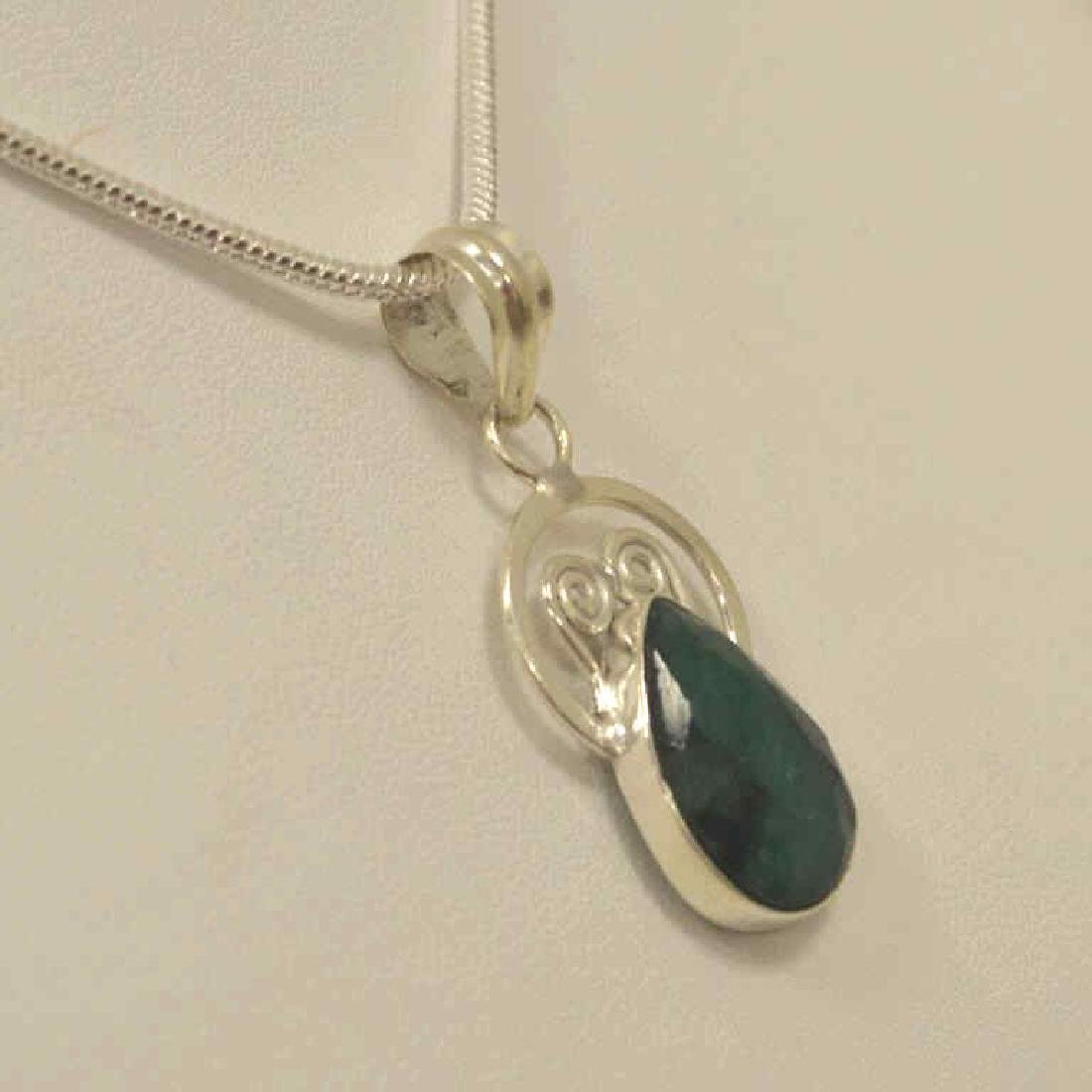 Sterling Silver opaque emerald necklace - 3