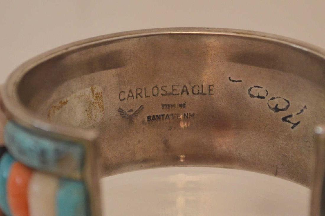 Large Carlos Eagle Navajo Sterling Cuff Bracelet - 2