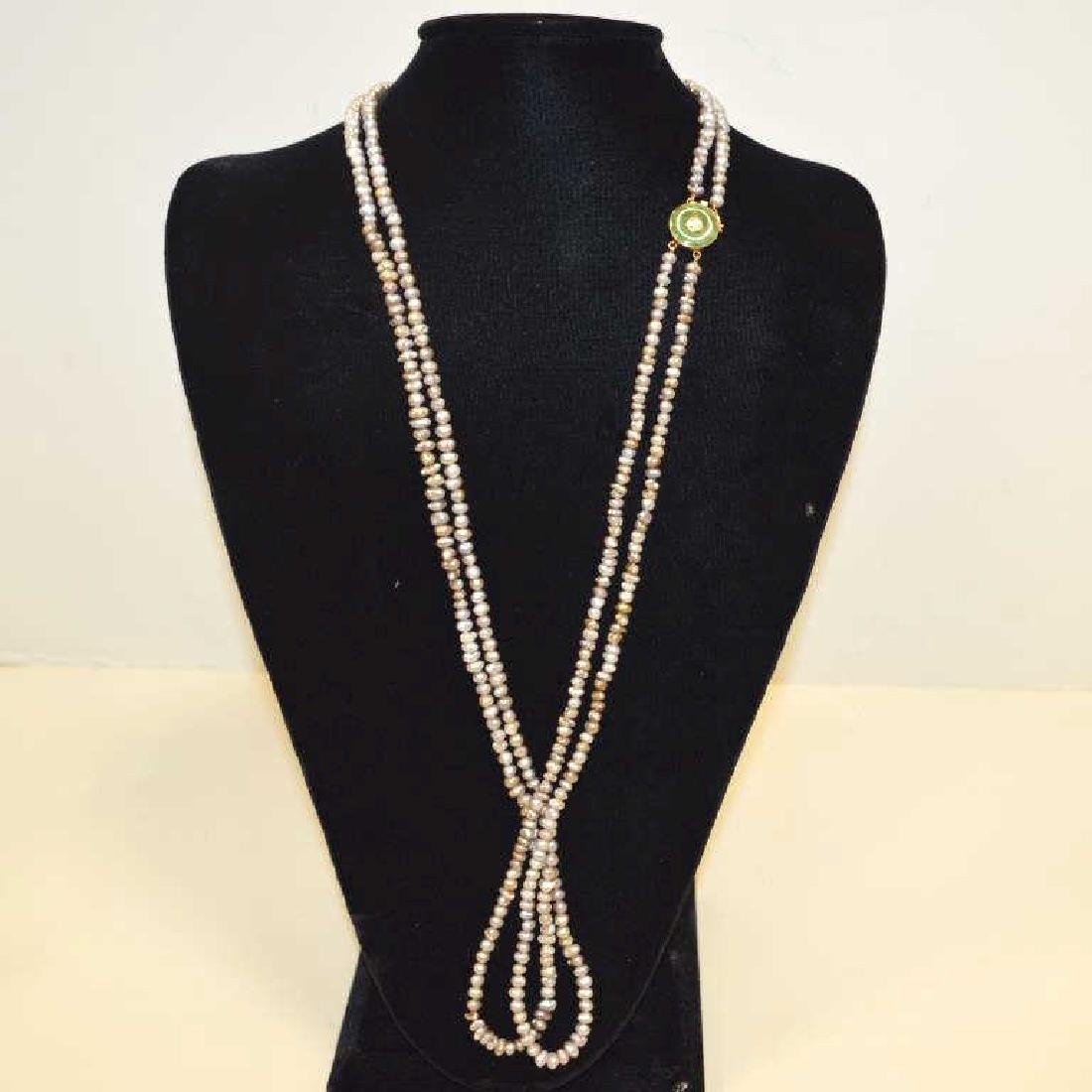 "34"" double strand freshwater pearl necklace"