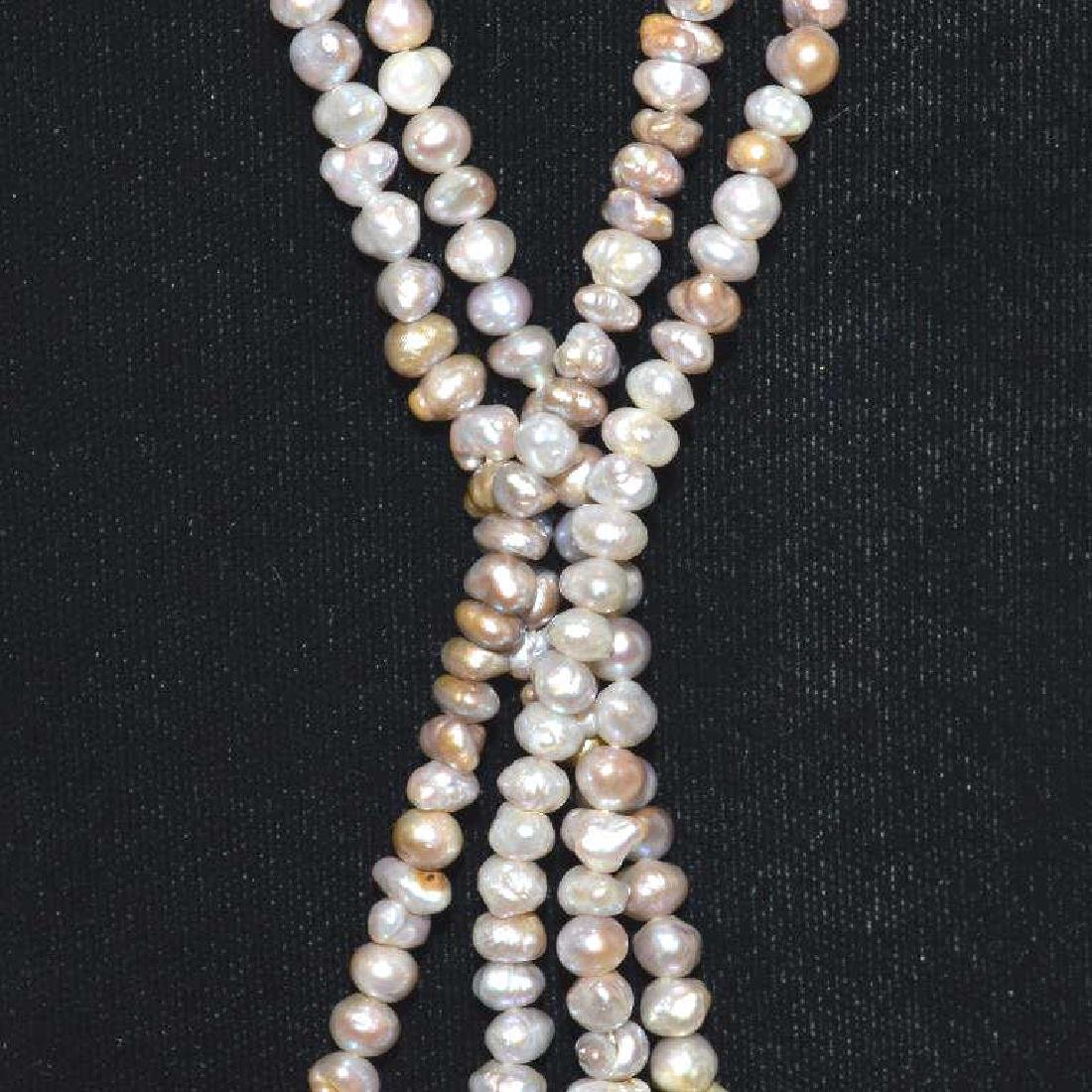 "34"" double strand freshwater pearl necklace - 2"