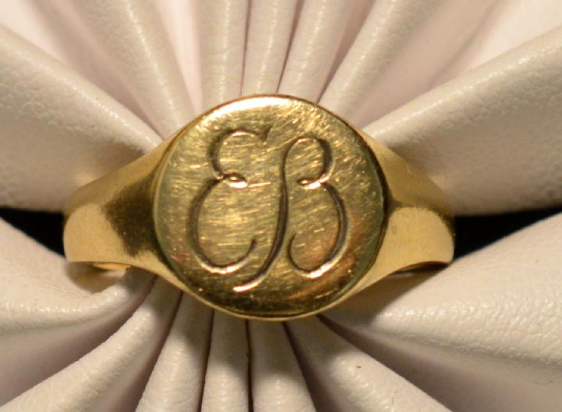 Eva Braun .585 Yellow Gold Round Signet Ring - 5