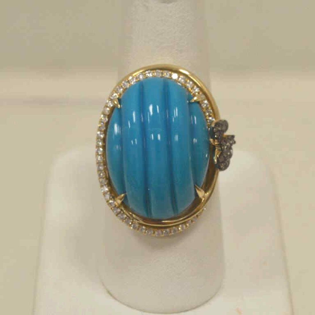 14kt yellow gold turquoise and diamond ring