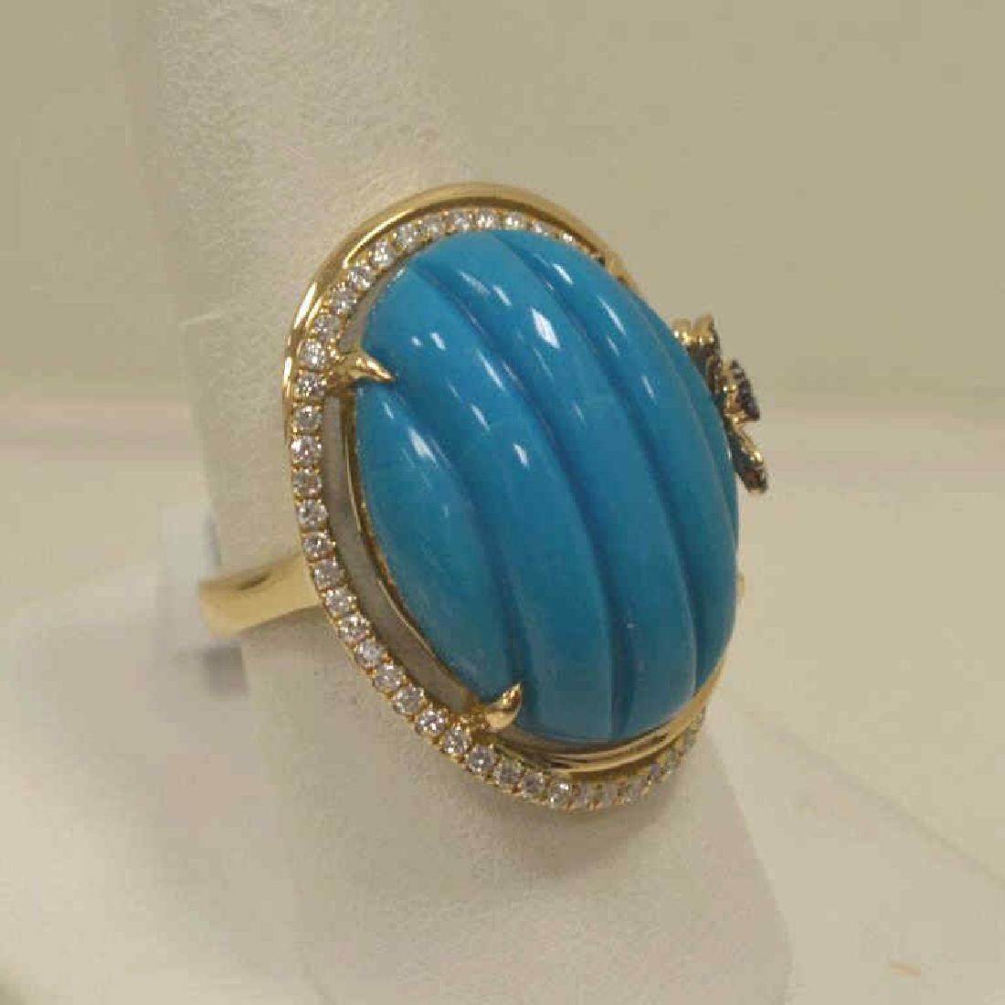 14kt yellow gold turquoise and diamond ring - 2