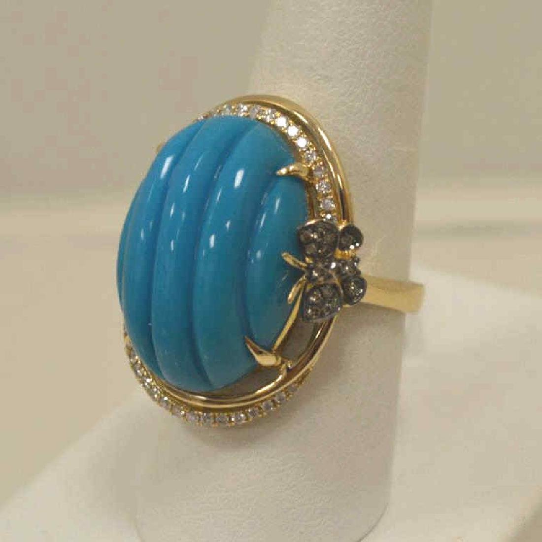 14kt yellow gold turquoise and diamond ring - 3