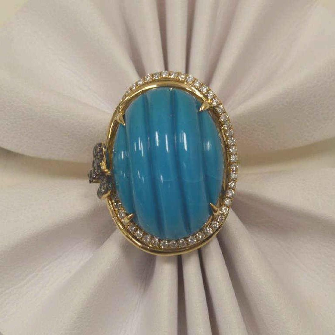 14kt yellow gold turquoise and diamond ring - 7