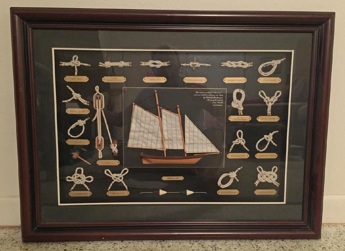 AMERICA 1851 Shadowbox Frame of Nautical Knots