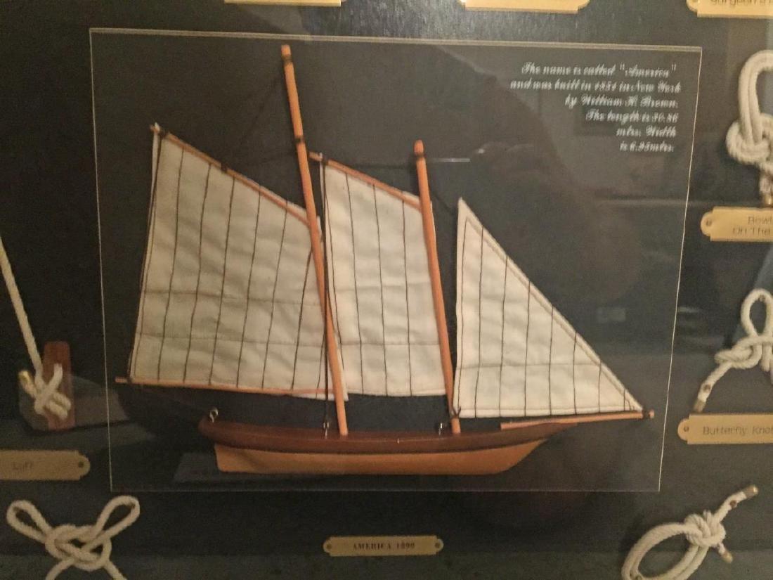 AMERICA 1851 Shadowbox Frame of Nautical Knots - 2