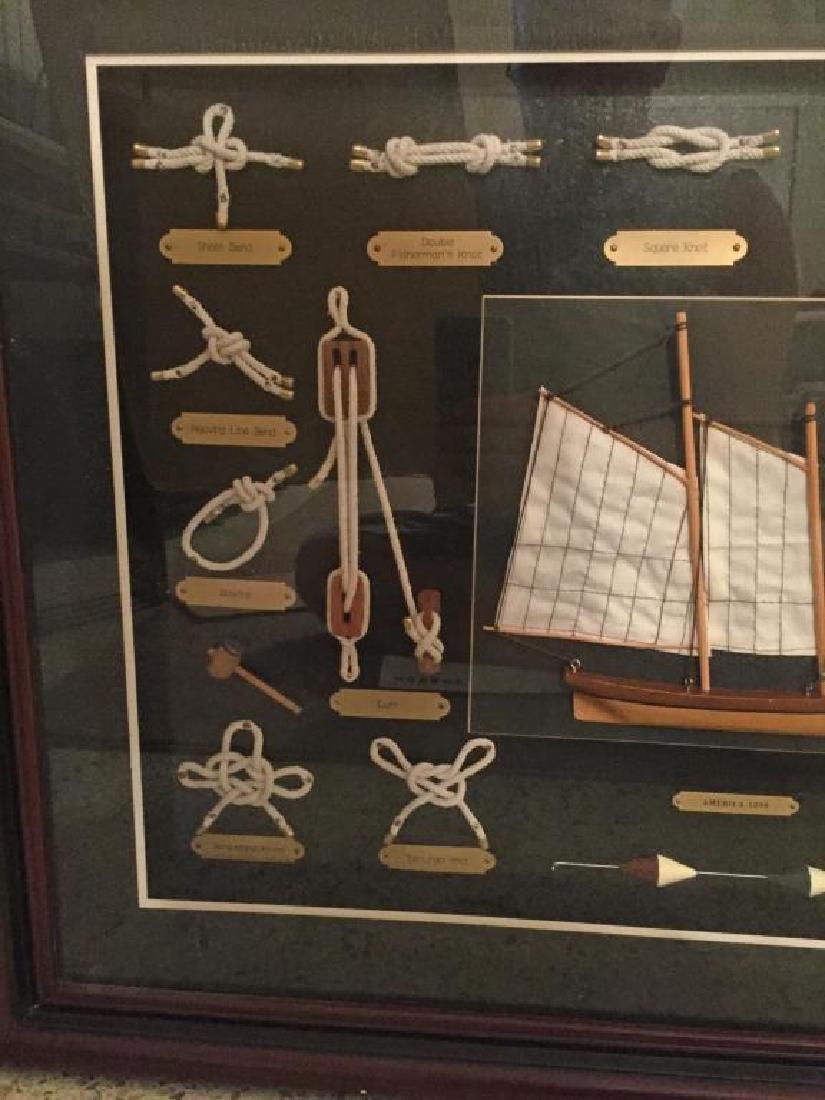 AMERICA 1851 Shadowbox Frame of Nautical Knots - 3