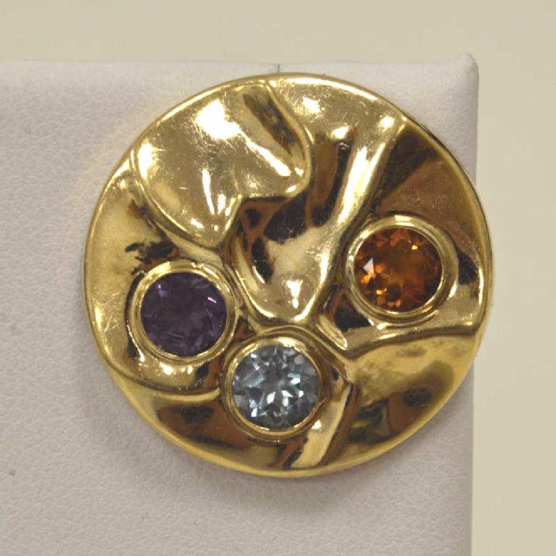 14kt yellow gold circle earrings - 2
