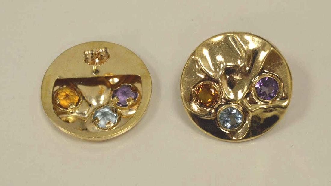14kt yellow gold circle earrings - 3