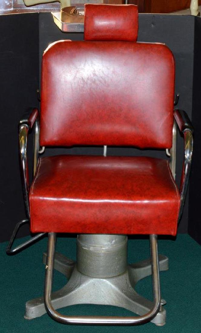 Vintage Red Vinyl & Metal Barber Chair with Razor