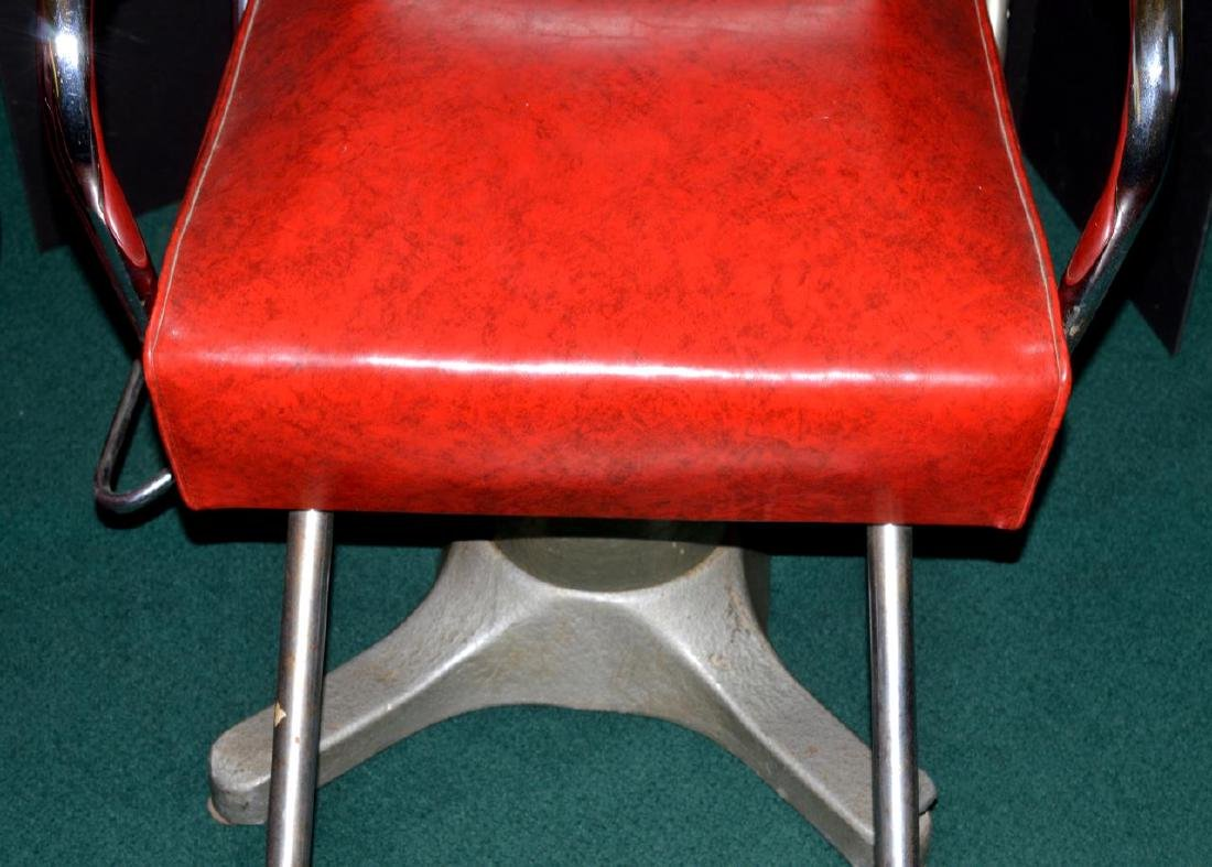 Vintage Red Vinyl & Metal Barber Chair with Razor - 3