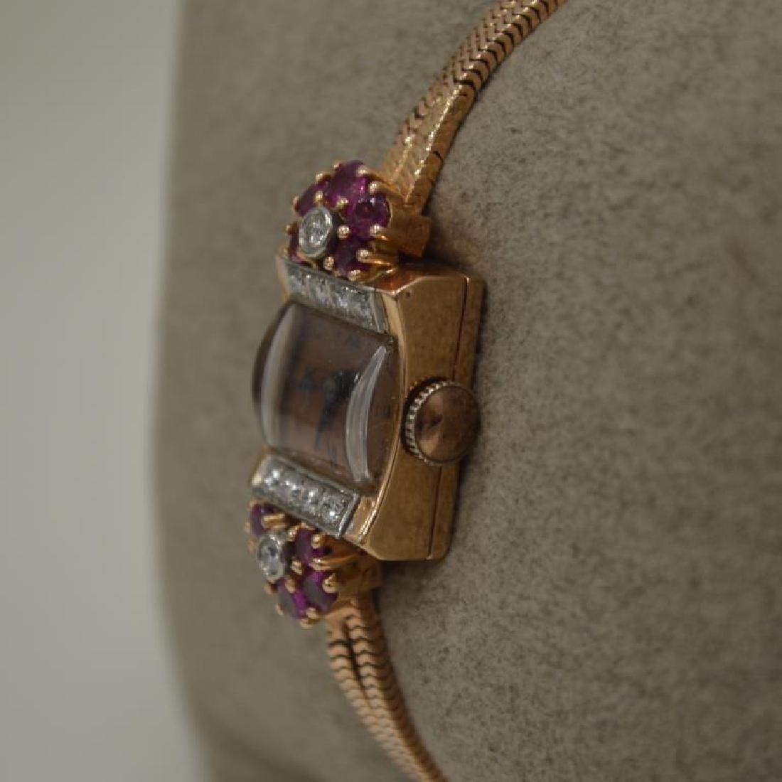14kt rose gold vintage dress watch - 3