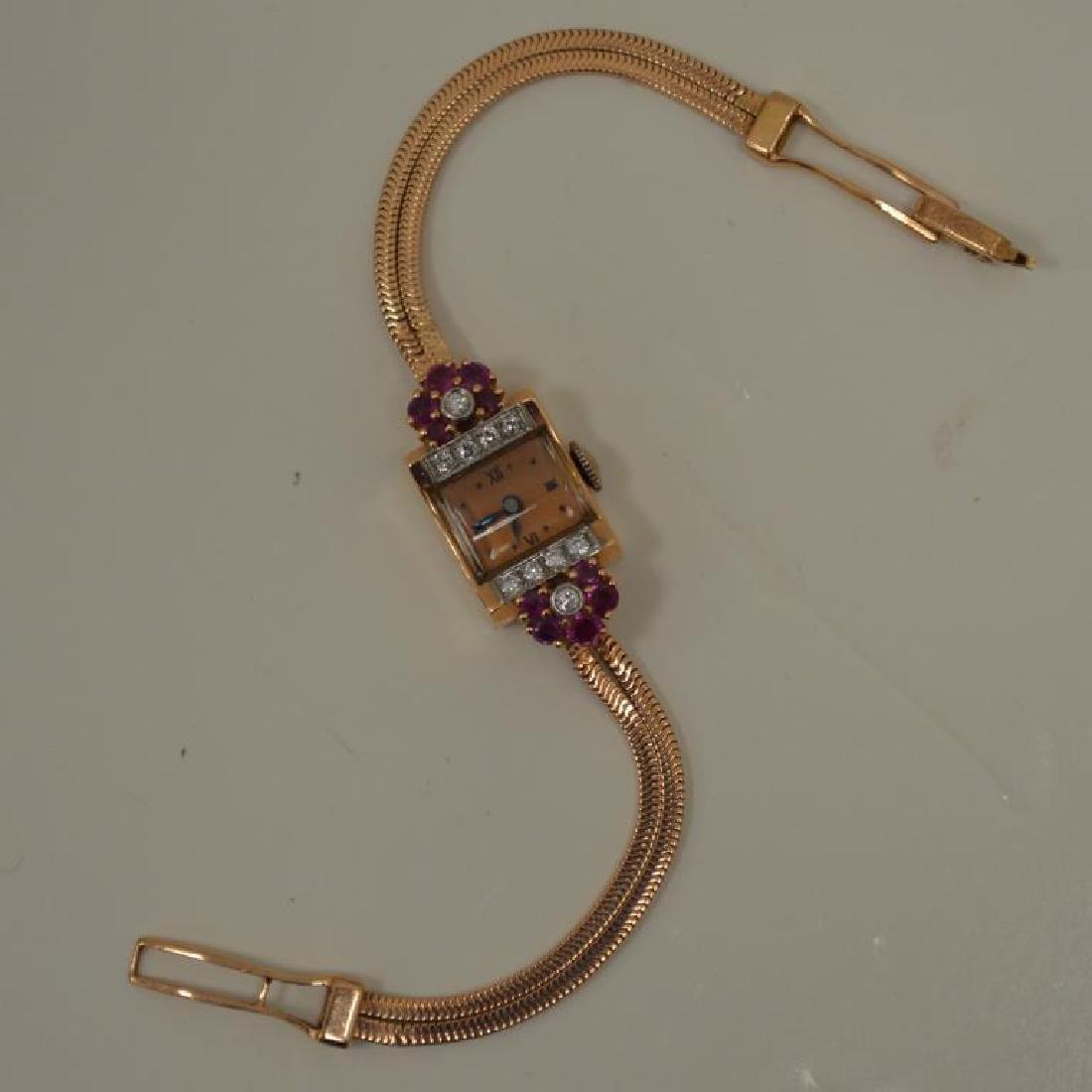 14kt rose gold vintage dress watch - 4