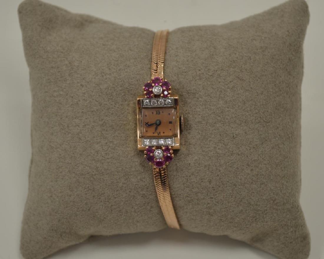 14kt rose gold vintage dress watch - 5