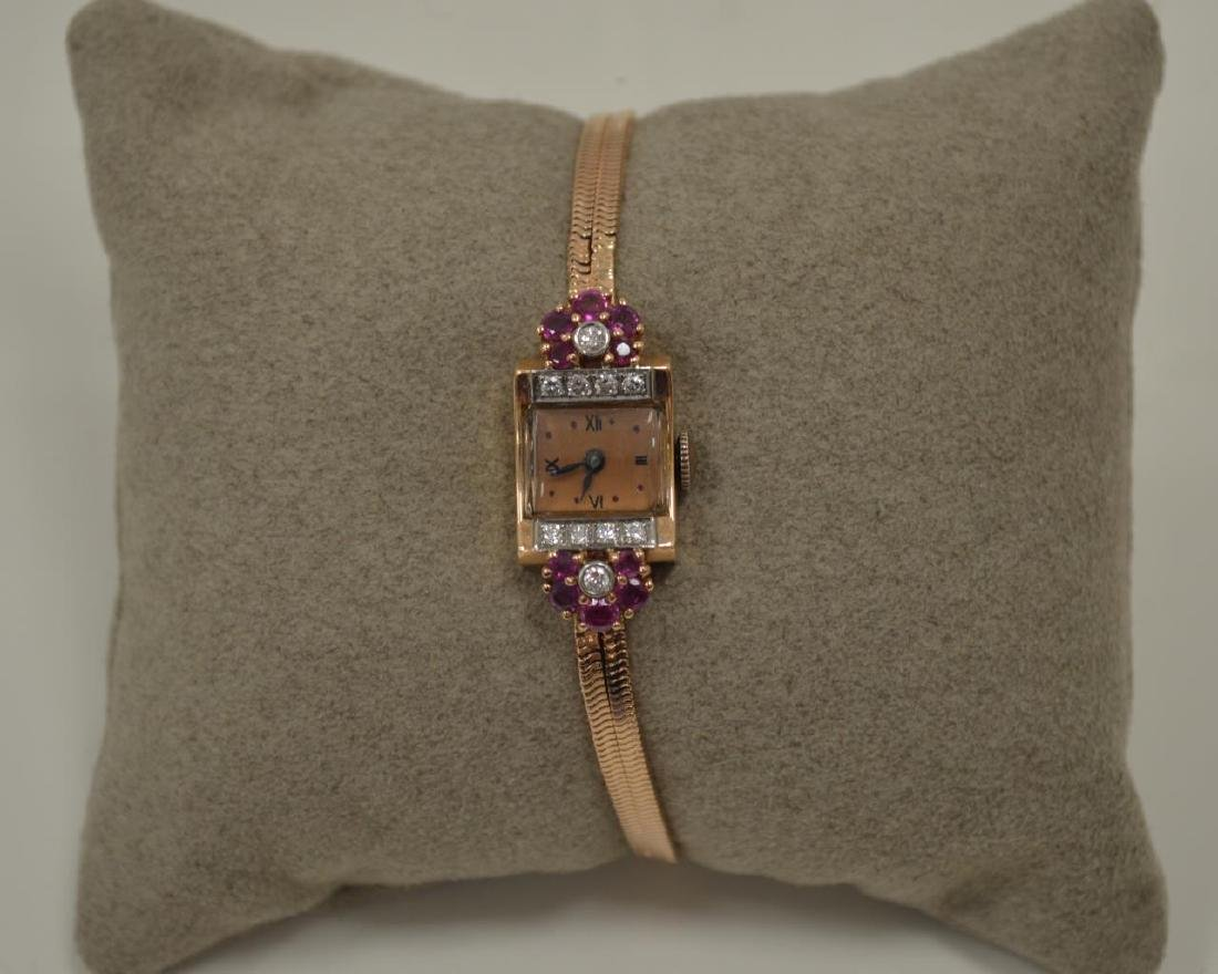 14kt rose gold vintage dress watch - 5