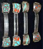 Native Indian Watch Bands wTurquoise  Red Coral