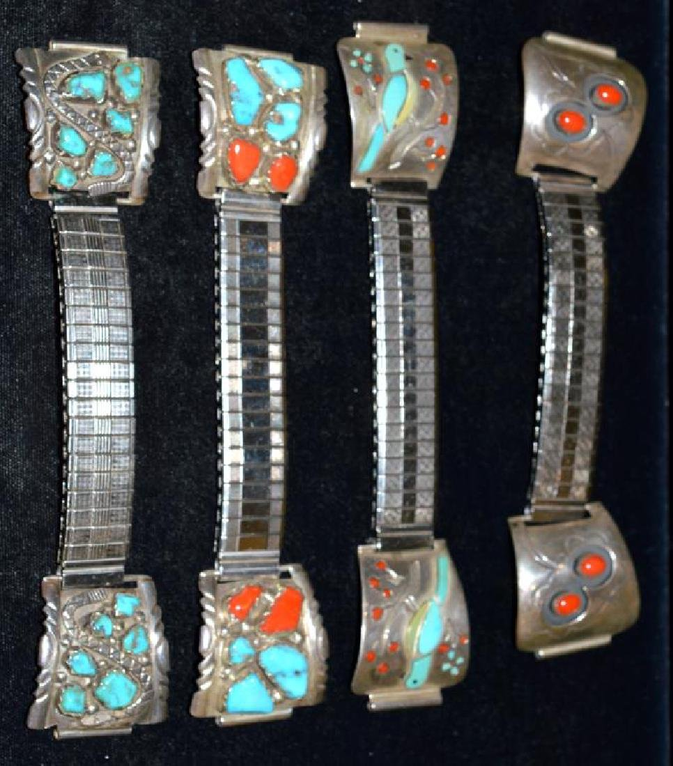 Native Indian Watch Bands w/Turquoise & Red Coral