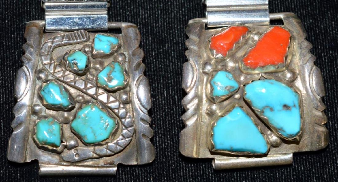 Native Indian Watch Bands w/Turquoise & Red Coral - 2