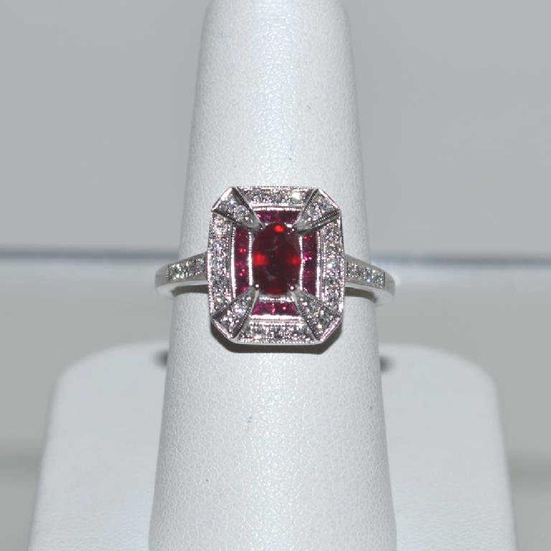 14kt white gold ruby and diamond ring