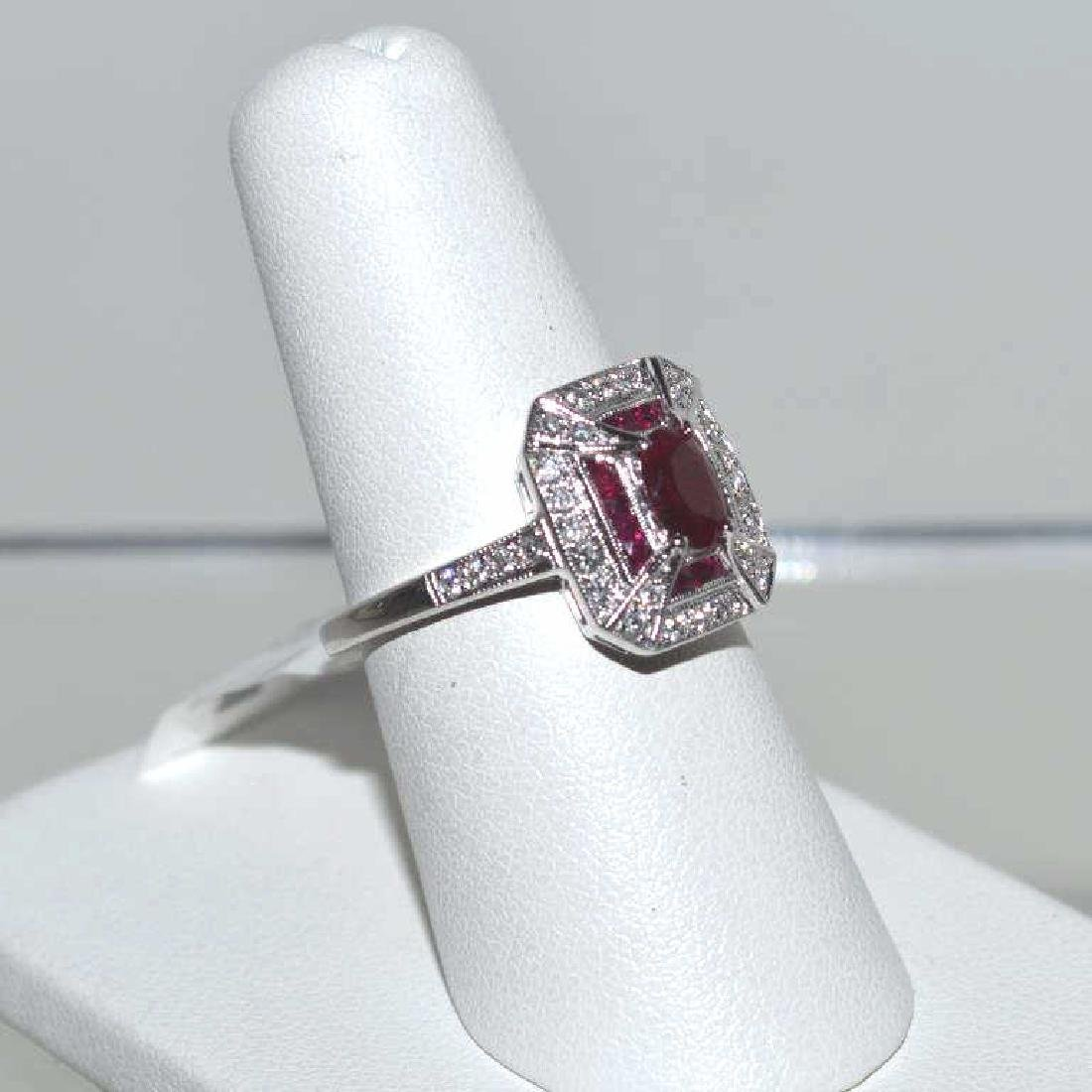 14kt white gold ruby and diamond ring - 2