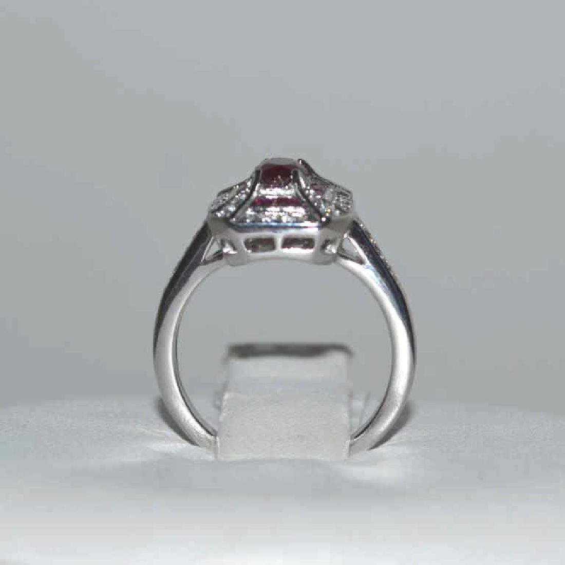 14kt white gold ruby and diamond ring - 3