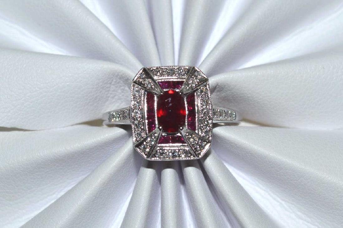 14kt white gold ruby and diamond ring - 4