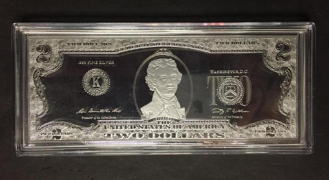 Silver Proof $2 Note 1 oz. Pure .999 Silver w/COA