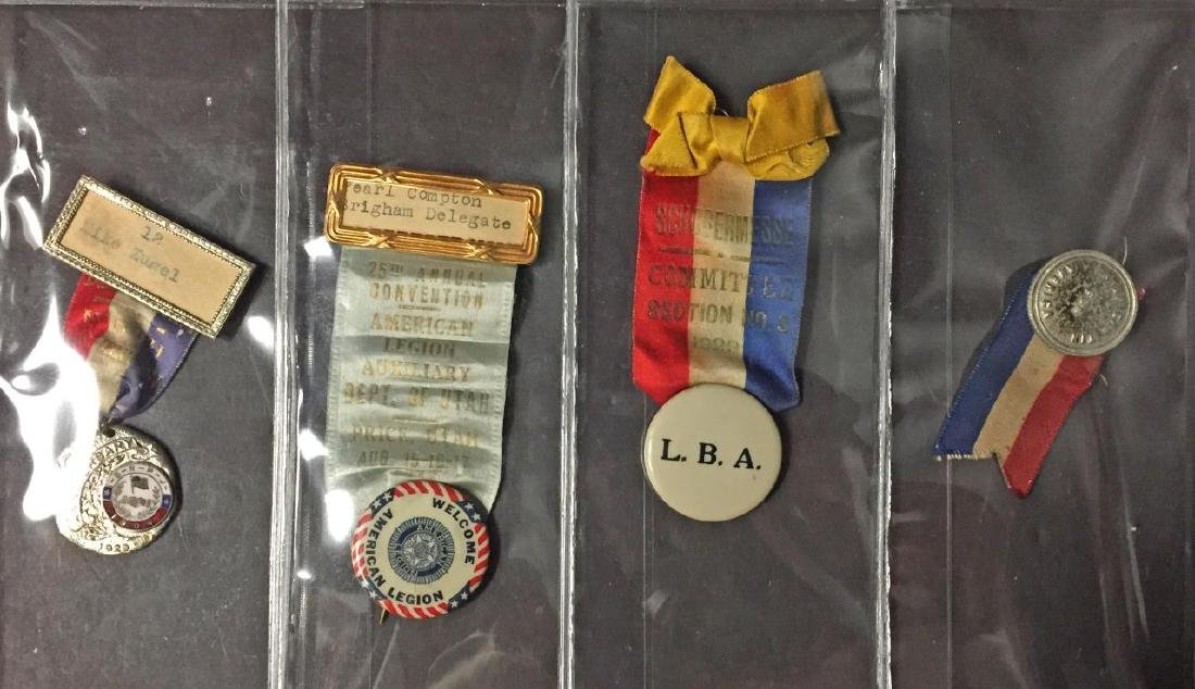 Lot of 4 Vintage Fraternity & Misc. Ribbon Pins