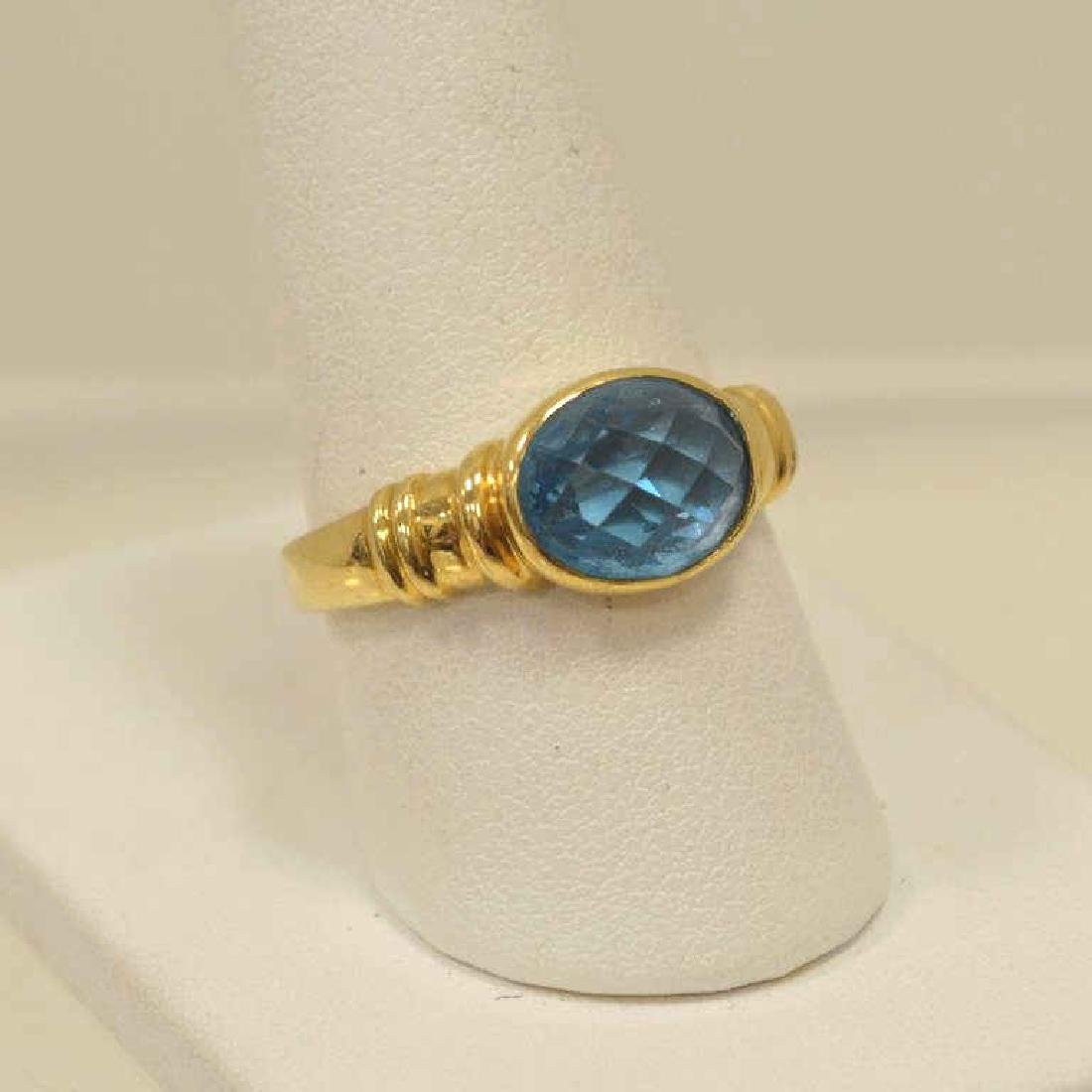18kt yellow gold blue topaz ring - 2