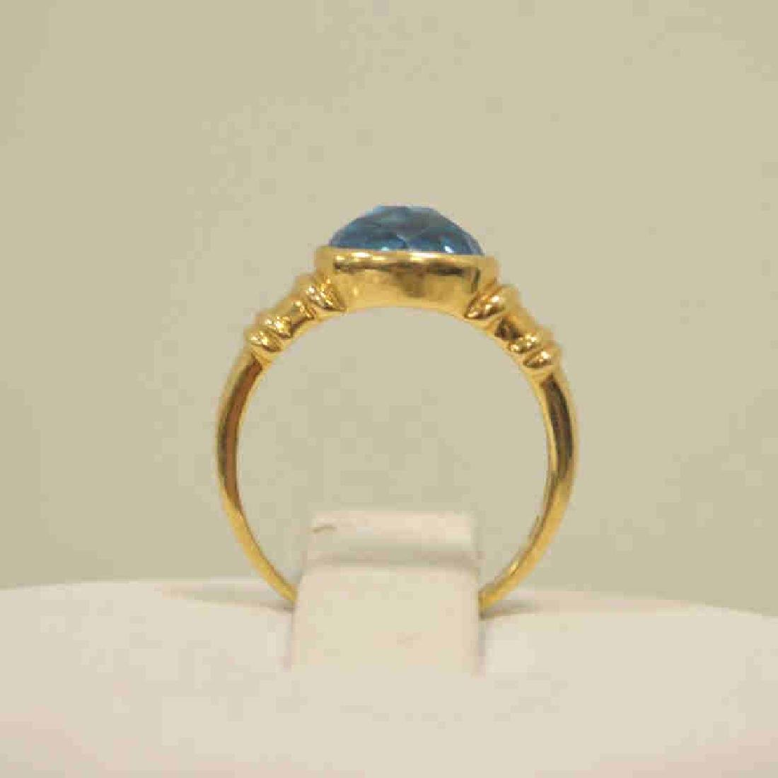 18kt yellow gold blue topaz ring - 3