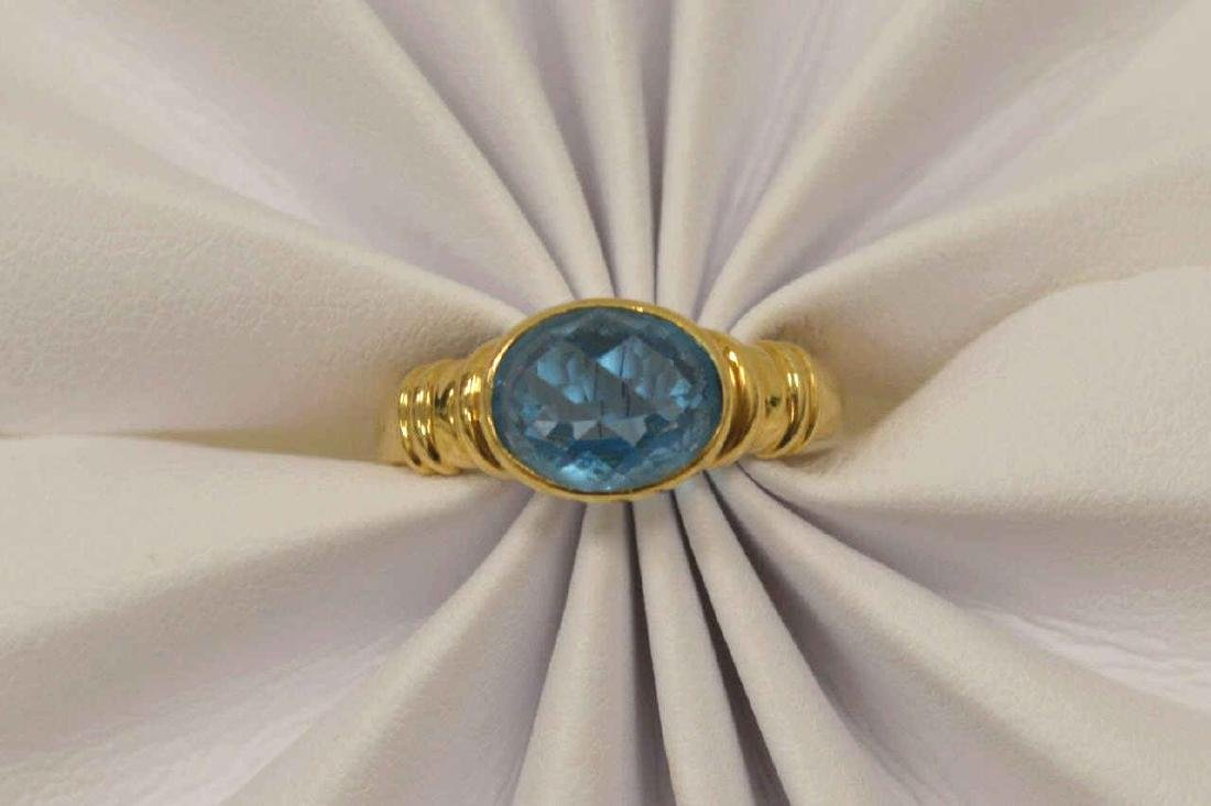 18kt yellow gold blue topaz ring - 5