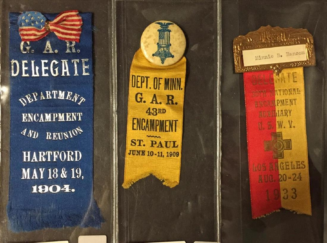 Lot of 3 G.A.R. Encampment & Delegate Ribbon Pins