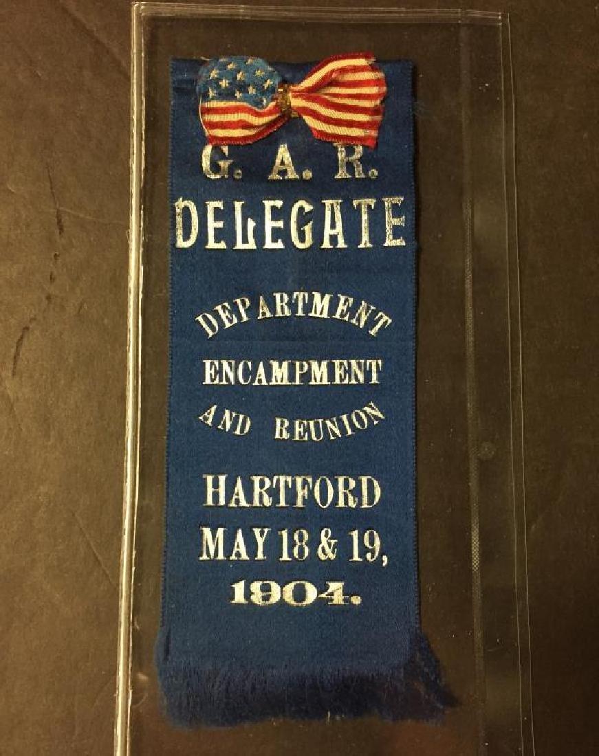 Lot of 3 G.A.R. Encampment & Delegate Ribbon Pins - 3