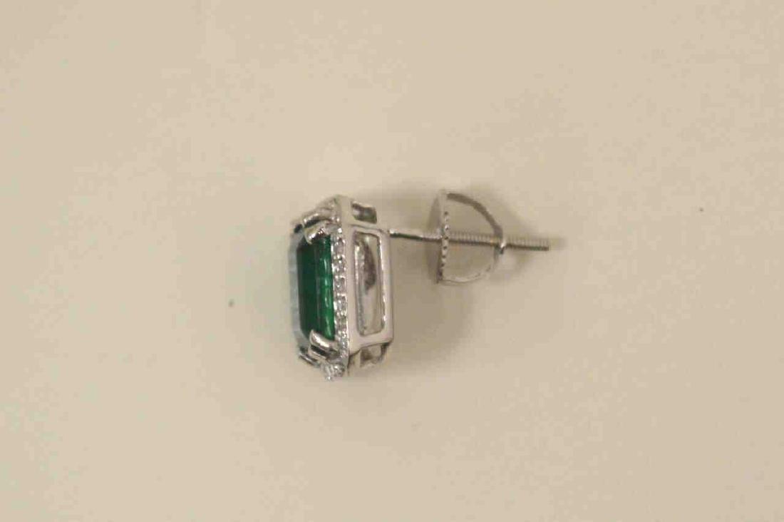Platinum emerald and diamond earrings - 4