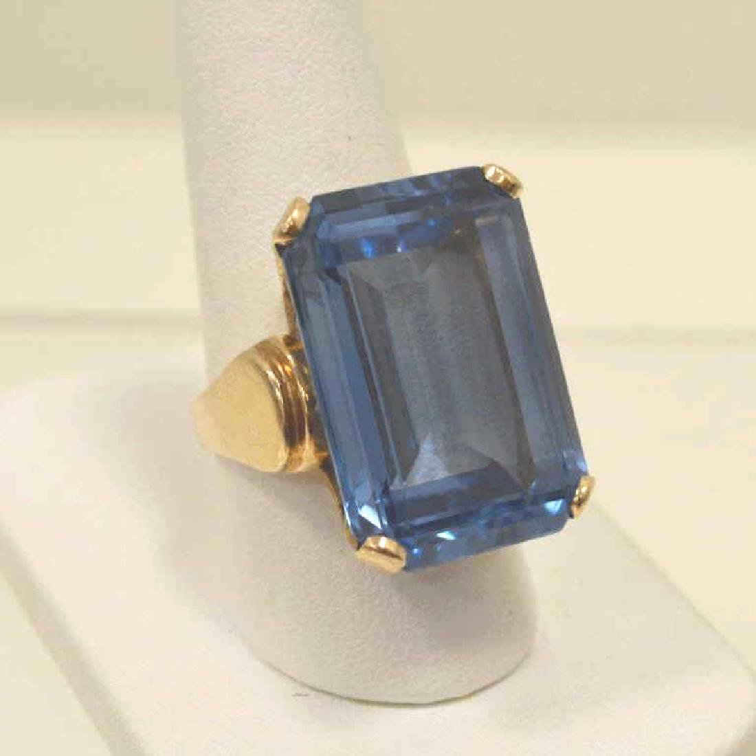 14kt yellow gold Syn. Blue Spinel ring - 2