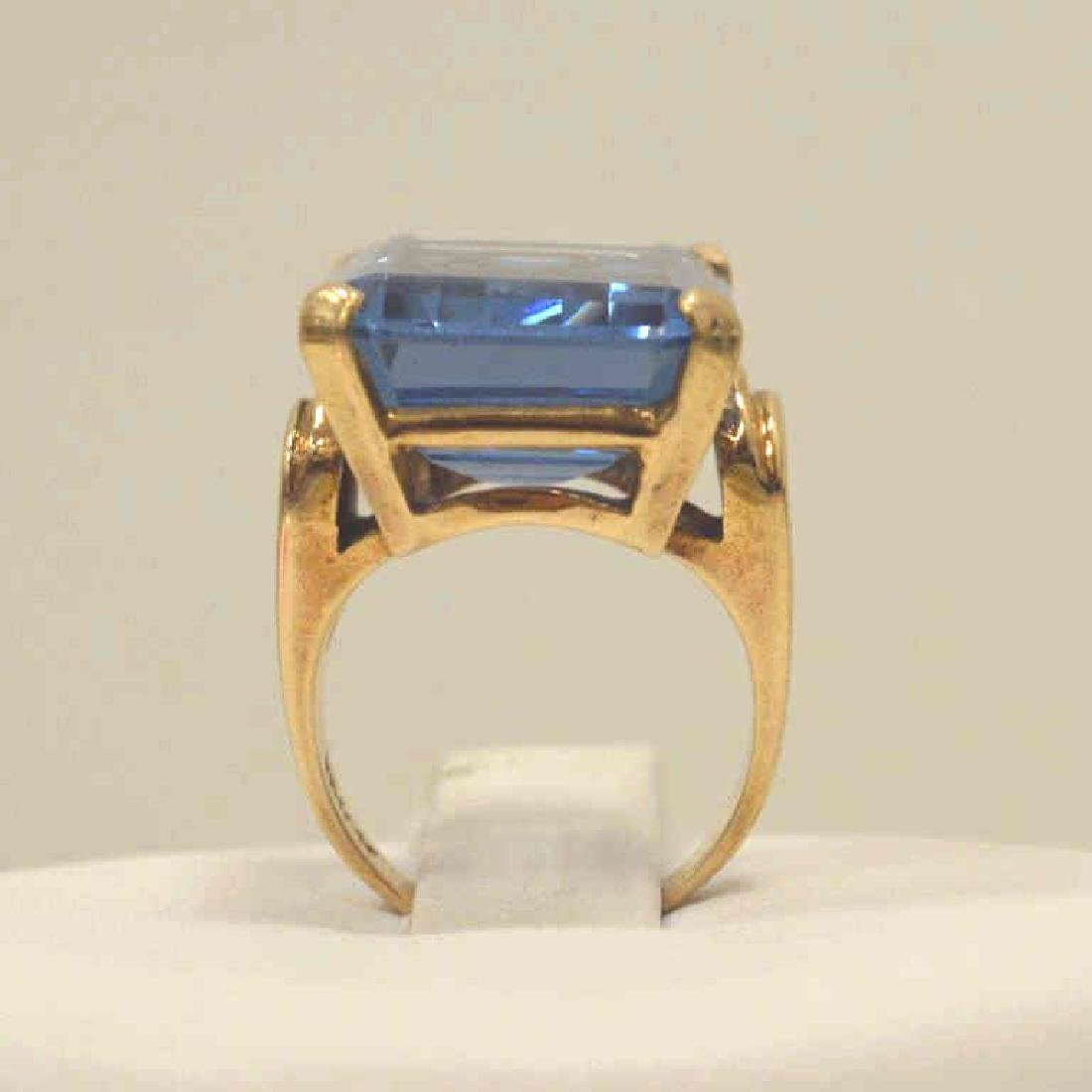 14kt yellow gold Syn. Blue Spinel ring - 4